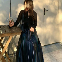 skirt Autumn 2020 160/84A,165/88A,170/92A Black color longuette street High waist A-line skirt stripe Type A 25-29 years old X9302DA29019270 More than 95% other Other / other polyester fiber Bright silk Europe and America