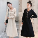 Dress Autumn 2020 Black, apricot M,L,XL,2XL longuette singleton  Long sleeves commute Doll Collar middle-waisted Solid color Socket A-line skirt routine Type A Korean version Button More than 95% Crepe de Chine polyester fiber