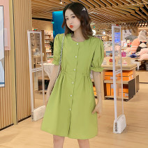 Dress Summer of 2019 Ginger yellow, fruit green M,L,XL,2XL Mid length dress singleton  Short sleeve commute Crew neck Elastic waist Solid color Single breasted Princess Dress Korean version More than 95% brocade Cellulose acetate