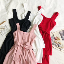 Dress Summer of 2019 White, black, red, pink Average size Short skirt singleton  commute High waist zipper Cake skirt camisole Type A Korean version 81% (inclusive) - 90% (inclusive) other other