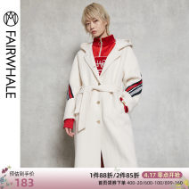 woolen coat Winter of 2018 S M L XL Navy White wool 71% (inclusive) - 80% (inclusive) Medium length Long sleeves commute routine square neck Solid color Straight cylinder Korean version Mark Fairwhale / mark Warfield 18-24 years old Wool 71.3% polyester 28.7%