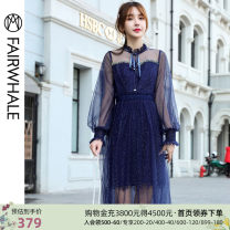 Dress Spring 2020 564 royal blue S M L XL Mid length dress singleton  Long sleeves commute High waist Solid color A-line skirt bishop sleeve 25-29 years old Mark Fairwhale / mark Warfield lady Lace up gauze More than 95% nylon Polyamide fiber (nylon) 100%
