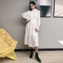 Dress Autumn of 2019 White high quality spot, black high quality spot S,M,L,XL,2XL Mid length dress singleton  Long sleeves commute Half high collar Loose waist Solid color Socket A-line skirt pagoda sleeve Others Type A Korean version 51% (inclusive) - 70% (inclusive)