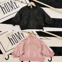 Plain coat Other / other neutral 80cm,90cm,100cm,110cm,120cm,130cm Black, pink spring and autumn Korean version Zipper shirt There are models in the real shooting routine nothing Solid color Cotton blended fabric Crew neck Polyester 100% Class B
