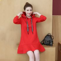 Dress Spring 2021 Red, black M,L,XL,2XL,3XL,4XL Mid length dress singleton  Long sleeves commute Hood Loose waist letter Socket Ruffle Skirt routine 18-24 years old Type A Other / other Korean version Ruffles, resin fixation 71% (inclusive) - 80% (inclusive) cotton