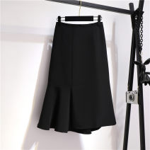 skirt Spring 2021 S,M,L,XL black Mid length dress commute High waist Irregular Solid color Type A ten point one three 71% (inclusive) - 80% (inclusive) Ruffle, zipper, stitching Korean version