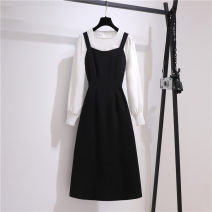 Dress Spring 2021 black S,M,L,XL,2XL Mid length dress Two piece set Long sleeves commute Crew neck High waist Solid color Socket Big swing shirt sleeve straps Type A Korean version Splicing , straps , Button , zipper Three point one 81% (inclusive) - 90% (inclusive) other other