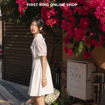 Dress Spring 2021 White, expected delivery before May 2, white, pre-sale S,M,L Mid length dress singleton  Short sleeve street V-neck Solid color Socket Others 18-24 years old Type A More than 95% other