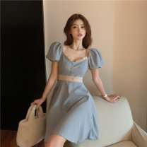 Women's large Spring 2021, summer 2021, autumn 2021 Blue dress M【80-105】,L【105-115】,XL【115-130】,2XL【130-150】,3XL【150-175】,4XL【175-200】 Dress singleton  commute easy thin Socket Short sleeve Solid color literature square neck Polyester, cotton Three dimensional cutting puff sleeve 18-24 years old
