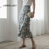 skirt Summer 2021 S,M,L,XL Blue water lily Mid length dress commute High waist Umbrella skirt Decor Type A 30-34 years old LL202104061138 Lords lady printing lady