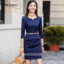 Dress Autumn of 2018 Red, blue, black S,M,L,XL,2XL,3XL,4XL Mid length dress Fake two pieces three quarter sleeve commute Crew neck middle-waisted Solid color Socket One pace skirt routine Others 25-29 years old Type H Dolphin heart Ol style Stitching, stereo decoration, zipper YY327 other