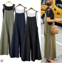 Casual pants Black, army green, navy blue S,M,L,XL,2XL,3XL,4XL,5XL Summer of 2019 Cropped Trousers rompers street 18-24 years old 51% (inclusive) - 70% (inclusive) hemp hemp Europe and America