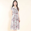 Dress Summer 2021 Pink green check M,L,XL,2XL,3XL Other / other YDZN02 - 20L2103 More than 95% polyester fiber