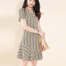 Dress Summer 2021 Yellow flower M,L,XL,2XL,3XL Other / other 303L211305-0AWE More than 95% polyester fiber