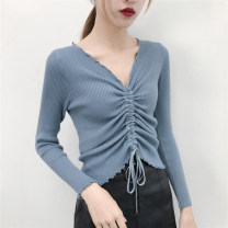 Wool knitwear Autumn of 2018 Average size White, blue, black, lavender Long sleeves singleton  Socket other 81% (inclusive) - 90% (inclusive) routine commute Self cultivation V-neck routine Solid color Socket Korean version 315# 18-24 years old Other / other