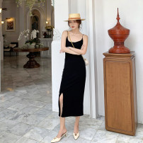 Dress Summer of 2019 Brown, black S,M,L,XL longuette singleton  Sleeveless commute V-neck Elastic waist Solid color Princess Dress camisole Type A Other / other Simplicity straps 6606# 31% (inclusive) - 50% (inclusive) other cotton