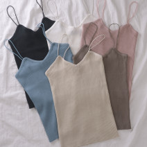 Vest sling Spring of 2019 Average size singleton  routine Self cultivation commute camisole Solid color 18-24 years old 31% (inclusive) - 50% (inclusive) polyester fiber Other / other