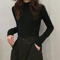 Wool knitwear Autumn 2020 Average size Long sleeves singleton  Socket other 30% and below Thin money commute Self cultivation Half height crew neck routine Solid color Socket Korean version 18-24 years old
