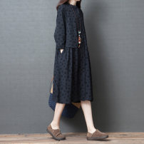 Dress Autumn of 2019 Black, Navy M,L,XL,2XL Mid length dress singleton  Long sleeves commute Crew neck Loose waist other Single breasted A-line skirt routine Others Type A Korean version Pocket, print other hemp