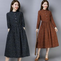 Dress Autumn of 2019 Brown, red, navy M,L,XL,2XL Mid length dress singleton  Long sleeves commute stand collar Loose waist Broken flowers Single breasted A-line skirt routine Others 25-29 years old Type A ethnic style Lace up, printed other other