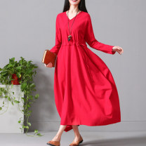 Dress Spring 2020 Red, white M,L,XL,2XL longuette singleton  Long sleeves commute V-neck Loose waist Solid color Socket Big swing routine Others Type A literature Pocket, lace up 51% (inclusive) - 70% (inclusive) hemp