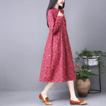 Dress Spring of 2019 Blue, red M,L,XL,2XL Mid length dress singleton  Long sleeves commute stand collar Loose waist Decor Socket A-line skirt 40-49 years old Type A Retro printing 51% (inclusive) - 70% (inclusive) hemp