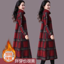 Dress Winter of 2018 Red check [no cashmere], blue check [no cashmere], black check [no cashmere], red check [cashmere], blue check [cashmere], black check [cashmere] M [recommended 120 kg], l [recommended 121-135 kg], XL [recommended 136-150 kg], 2XL [recommended 151-170 kg] Mid length dress commute