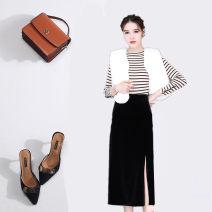skirt Autumn 2020 S,M,L,XL,2XL,3XL,4XL,5XL Black, purple, dark blue Mid length dress commute High waist skirt Solid color Type H 25-29 years old 91% (inclusive) - 95% (inclusive) other polyester fiber Split Korean version