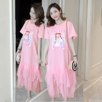 Dress Other / other M,L,XL,XXL Korean version Short sleeve Medium length summer Crew neck Cartoon animation cotton