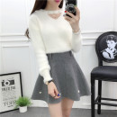 Dress Autumn 2020 S,M,L,XL Short skirt Two piece set Long sleeves Sweet Crew neck High waist Solid color Socket A-line skirt routine Others 18-24 years old Type A Nail bead 81% (inclusive) - 90% (inclusive) Wool rabbit 's hair solar system