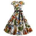 Dress Summer of 2019 Picture color S,M,L,XL,2XL Miniskirt singleton  Short sleeve street V-neck High waist zipper Big swing routine Type A 6088# Europe and America