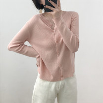Wool knitwear Spring of 2019 Average size Off white, peach powder, apricot flowers Long sleeves singleton  Cardigan wool 31% (inclusive) - 50% (inclusive) have cash less than that is registered in the accounts Thin money easy Single breasted