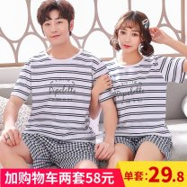 Pajamas / housewear set lovers Other / other cotton Short sleeve Cartoon pajamas summer Thin money Crew neck Cartoon animation shorts Socket youth 2 pieces rubber string More than 95% pure cotton printing 200g and below
