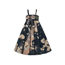 Dress Autumn 2020 Full skirt in stock S,M,L Mid length dress singleton  Sleeveless Sweet other Loose waist Cartoon animation Socket A-line skirt other camisole 18-24 years old Type A Sunyoutee / sanyeting Bowknot, Gouhua, hollowed out, zipper, printing polyester fiber Lolita