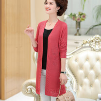 Middle aged and old women's wear Spring 2020 fashion Knitwear / cardigan easy singleton  Solid color 40-49 years old Cardigan thin V-neck Medium length routine Hollowing out 51% (inclusive) - 70% (inclusive)