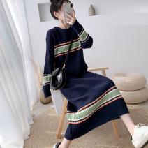 Dress Winter of 2019 Navy Blue Average size longuette singleton  Long sleeves commute Crew neck Loose waist stripe Socket Pencil skirt raglan sleeve 18-24 years old Type H Korean version 51% (inclusive) - 70% (inclusive) knitting acrylic fibres