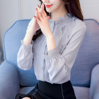 Lace / Chiffon Autumn of 2019 Blue, white, grey blue, black [skirt] S,M,L,XL,2XL Long sleeves commute Cardigan singleton  easy Regular stand collar Solid color shirt sleeve 25-29 years old Ruffles, folds, fungus, Gouhua, hollowing, stitching, thread, button, lace Korean version polyester fiber