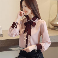 shirt White, pink, black [skirt] S,M,L,XL,2XL Spring of 2019 polyester fiber 81% (inclusive) - 90% (inclusive) Long sleeves commute Regular Polo collar Single row multi button routine Solid color 25-29 years old Self cultivation Korean version