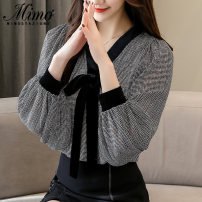 Lace / Chiffon Spring of 2019 Black, red, black [skirt] S,M,L,XL,2XL Long sleeves commute Socket singleton  easy Regular V-neck Solid color routine 25-29 years old Bows, ruffles, hollows, pleats, embroidery, folds, printing, stitching, bandages, buttons Korean version polyester fiber