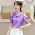 Lace / Chiffon Summer 2020 S,M,L,XL,2XL Short sleeve commute Socket singleton  easy Regular Doll Collar Solid color routine 25-29 years old Korean version 81% (inclusive) - 90% (inclusive) polyester fiber