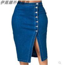 skirt Spring of 2019 L,XL,2XL,3XL,4XL,5XL blue Middle-skirt street High waist Denim skirt other Type H 18-24 years old 51% (inclusive) - 70% (inclusive) Denim Other / other Europe and America