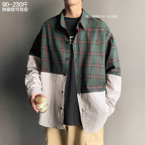 shirt Youth fashion Others Red, green routine square neck Long sleeves easy Other leisure spring youth tide 2021 lattice No iron treatment Color matching