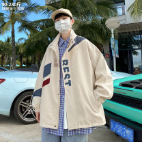 Jacket Other / other Youth fashion Off white M,L,XL,2XL,XXXL,XXXXL,XXXXXL routine easy Other leisure spring Long sleeves Wear out Lapel tide youth routine Zipper placket 2021 Cloth hem No iron treatment Closing sleeve other other Side seam pocket