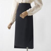 skirt Spring 2021 S,M,L,XL,XS Black, pink, grape violet Mid length dress Versatile High waist A-line skirt 18-24 years old Qin Yao