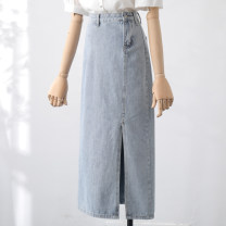 skirt Summer 2020 S,M,L,XL Light blue longuette commute High waist A-line skirt Solid color Type A 18-24 years old 31% (inclusive) - 50% (inclusive) Denim Qin Yao cotton pocket Korean version