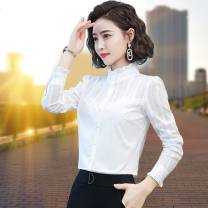 shirt S,M,L,XL,2XL,3XL,4XL Spring 2021 cotton 96% and above Long sleeves commute Regular stand collar Single row multi button routine Solid color 30-34 years old Self cultivation Korean version Button pure cotton
