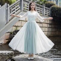 Dress Spring 2021 S,M,L,XL longuette singleton  elbow sleeve commute Big swing routine Under 17 literature 8835# Chiffon