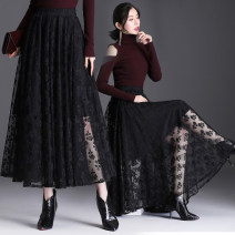 skirt Autumn 2020 L,XL black longuette sexy High waist A-line skirt Solid color Type A 25-29 years old #20944 Lace Other / other polyester fiber Cut out, lace