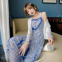 Dress Summer 2021 Blue check (delivery within 7 days) S,M,L,XL Mid length dress singleton  Sleeveless Sweet square neck High waist lattice zipper Irregular skirt other camisole 18-24 years old Type X Gulaliang Auricularia auricula, three-dimensional decoration, button HT210110 solar system