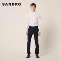 Casual pants SANDRO Business gentleman navy blue 36 38 40 42 44 46 trousers Other leisure Straight cylinder SHPPA00263 Wool 99% polyurethane elastic fiber (spandex) 1% Autumn of 2019